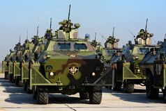 Gevechtsvoertuigen van de Servische Militaire politie Royalty-vrije Stock Fotografie