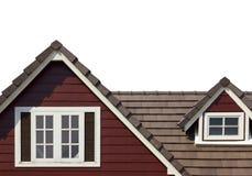 Geveltop van het huis op witte achtergrond wordt geïsoleerd die stock fotografie