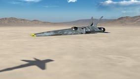 Geven het vechters Straal, futuristische militaire vliegtuig over een woestijn met blauwe hemel vliegen en de bergen die op de 3D vector illustratie