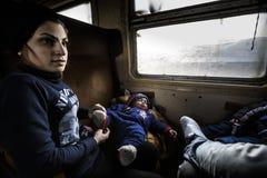 Gevgeljia macedonian border. Macedonia - FYROM - Gevgeljia. Refugees on the train for the Serbian border stock images
