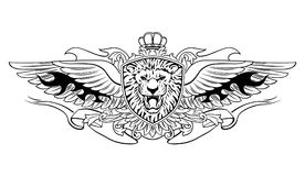 Gevleugeld Brullend Lion Shield Insignia vector illustratie