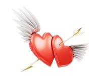 Gevleugeld die hart twee door een pijl op een witte achtergrond wordt doordrongen 3D r Stock Foto
