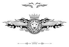 Gevleugeld Lion Shield Insignia vector illustratie