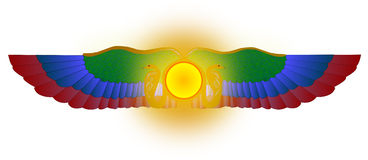 Gevleugeld zon (Ra) VectorArt. Stock Afbeeldingen