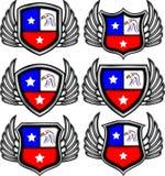 Gevleugelde emblemen met adelaars stock illustratie