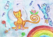 Gevleugelde katten en regenboog Kinderen` s tekening Stock Foto's