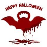 Gevleugelde kettlebell met druipend bloed Illustratie van Halloween-kaartmalplaatje royalty-vrije illustratie