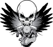 Gevleugelde motorfietsmotor met schedel Royalty-vrije Stock Fotografie