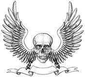 Gevleugelde schedel Royalty-vrije Stock Foto's