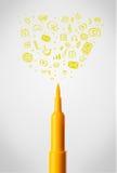 Gevoeld penclose-up met sociale media pictogrammen Stock Afbeelding