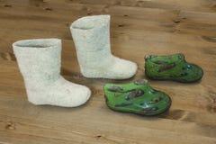 Gevoelde laarzen Stock Fotografie