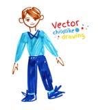 Gevoelde pentekening van jongen Royalty-vrije Stock Afbeeldingen