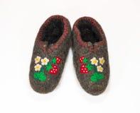 Gevoelde schoenen Royalty-vrije Stock Afbeeldingen