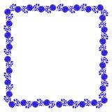 Gevoelig kader met blauwe geïsoleerd pioenbloemen stock illustratie