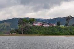 Gevoelig & kleurrijk laguna La Cocha, Colombia royalty-vrije stock foto