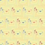 Gevoelig koraal en blauwe hand getrokken vlinders in elegante bloemen vierkante kaders Naadloos vectorpatroon op geel royalty-vrije illustratie