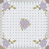 Gevoelig leuk sjaalpatroon met bloemen in in kleuren op bruine achtergrond Bloemendruk voor sjaal, textiel, dekking, oppervlakte, vector illustratie