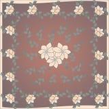 Gevoelig leuk sjaalpatroon met bloemen in in kleuren op bruine achtergrond Bloemendruk voor sjaal, textiel, dekking, oppervlakte, stock illustratie