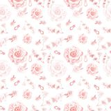 Gevoelig roze bloemen en van halfedelsteenringen naadloos patroon Romantische rozen en pioenen op witte achtergrond vector illustratie
