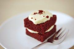 Gevoelig stuk van kleine chocoladecake Stock Foto