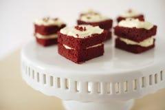 Gevoelig stuk van kleine chocoladecake in nadruk Stock Afbeelding