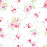 Gevoelige bloemen en oude sleutels met bogen naadloos vectorpatroon Royalty-vrije Stock Foto