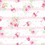Gevoelige bloemen en oude sleutels met bogen naadloos vectorpatroon Stock Afbeelding