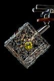 Gevoelige die kroonluchter van kleurenlampen op zwarte, close-up worden geïsoleerd Royalty-vrije Stock Afbeelding