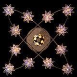 Gevoelige kroonluchter van de lampen van de kleurenster op zwarte Stock Fotografie