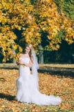 Gevoelige mooie bruid met een witte kleding Stock Foto's