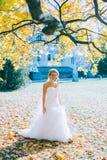 Gevoelige mooie bruid met een witte kleding Royalty-vrije Stock Afbeelding