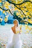 Gevoelige mooie bruid met een witte kleding Royalty-vrije Stock Foto's