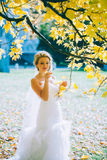 Gevoelige mooie bruid met een witte kleding Stock Foto