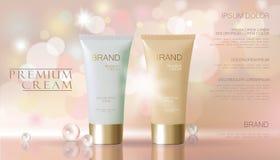 Gevoelige parel roze kosmetische advertentie Het beige witte van de het maskerbuis van de gezichtsroom vage model van het de bezi stock illustratie