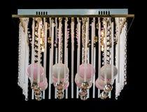 Gevoelige roze die kroonluchter van de bollen van de kleurenlamp op zwarte worden geïsoleerd Stock Fotografie