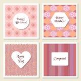 Gevoelige universele kaarten Geometrisch en spirograph texturen Huwelijk, verjaardag, verjaardag, Valentin-dag, partij vector illustratie