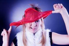 Gevoels meisje met kousen op het hoofd Royalty-vrije Stock Foto