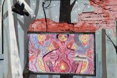 Gevoelsscène in hart het loswringen straatkunst die verlies en verdriet, Denver van de binnenstad, 2015 afschilderen Stock Foto