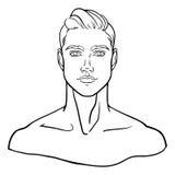 Gevoerd, hand-drawn portret van jonge mensengezicht voor sociaal profiel Vector illustratie Stock Afbeeldingen