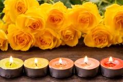 Gevoerde kaarsen Stock Foto's