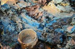 Gevolgen Milieu van Chemische producten en zware metalen in grond Stock Fotografie