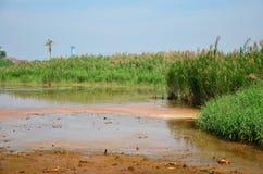 Gevolgen Milieu van Chemische producten en zware metalen in grond Stock Foto
