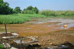 Gevolgen Milieu van Chemische producten en zware metalen in grond Stock Afbeelding