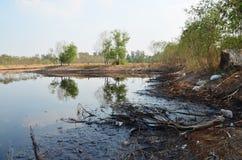 Gevolgen Milieu van Water met Chemische producten en olie wordt vervuild die Royalty-vrije Stock Afbeelding