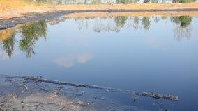 Gevolgen Milieu van Water met Chemische producten en olie wordt vervuild die stock footage