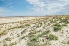 Gevolgen van Aral overzeese catastrofe Zandige zoute woestijn op de plaats van vroegere bodem van Aral overzees stock foto's
