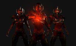 Gevorderde cyborg militairen Stock Afbeeldingen