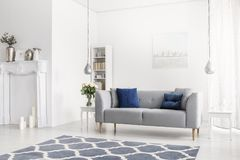 Gevormd blauw tapijt voor grijze bank in wit flatbinnenland met bloemen en lampen Echte foto stock afbeelding