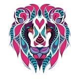 Gevormd gekleurd hoofd van de leeuw Afrikaans/Indisch/totem/tatoegeringsontwerp royalty-vrije illustratie