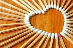 Gevormd hart matchstick royalty-vrije stock afbeelding
